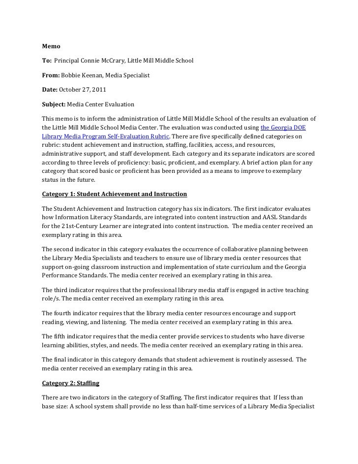 MemoTo: Principal Connie McCrary, Little Mill Middle SchoolFrom: Bobbie Keenan, Media SpecialistDate: October 27, 2011Subj...