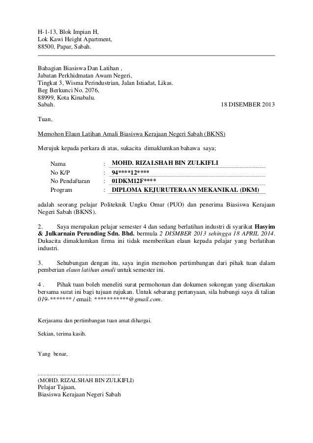 Surat Memohon Elaun Latihan Amali BKNS