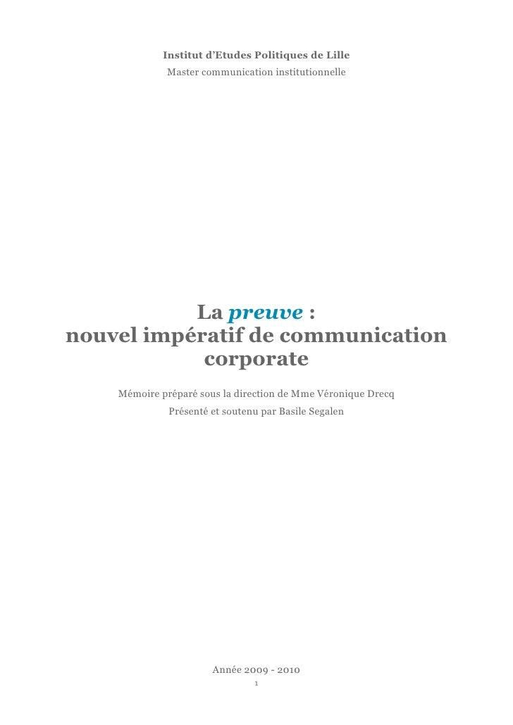 Institut d'Etudes Politiques de Lille              Master communication institutionnelle                La preuve : nouvel...