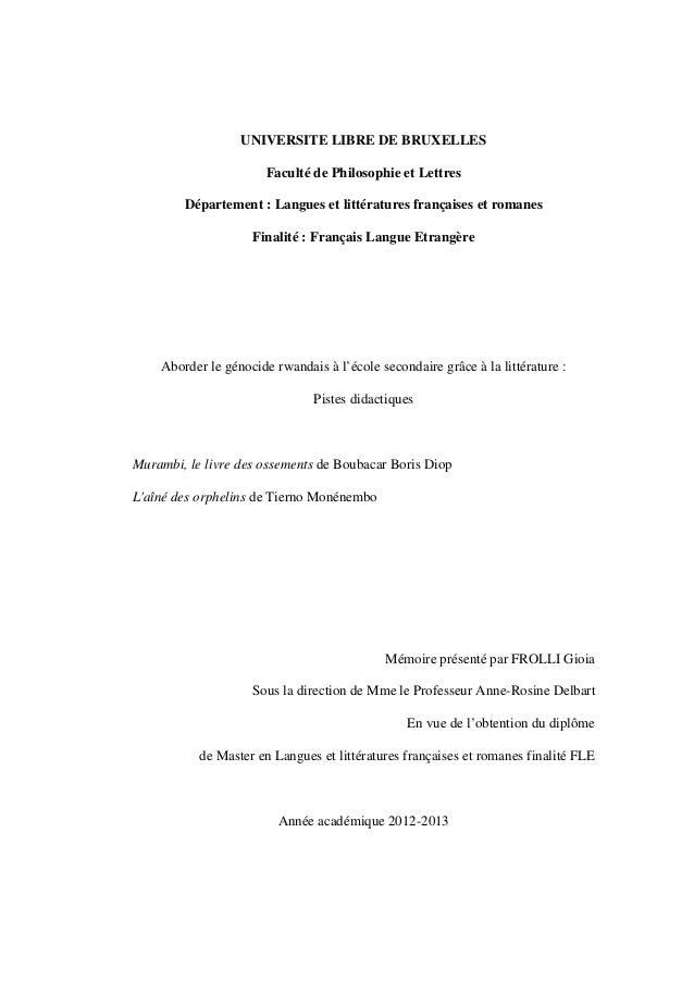 UNIVERSITE LIBRE DE BRUXELLES Faculté de Philosophie et Lettres Département : Langues et littératures françaises et romane...