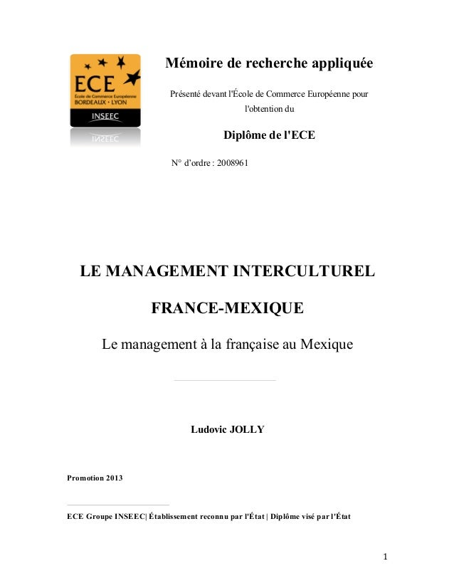 Memoire Management interculturel France Mexique