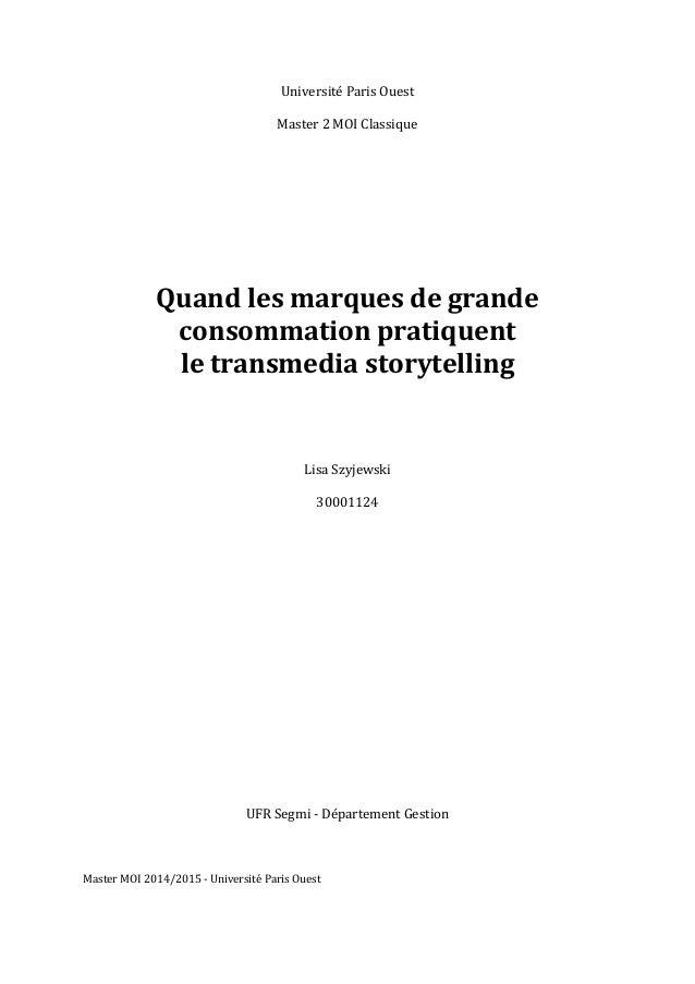 Université  Paris  Ouest      Master  2  MOI  Classique                              Qua...