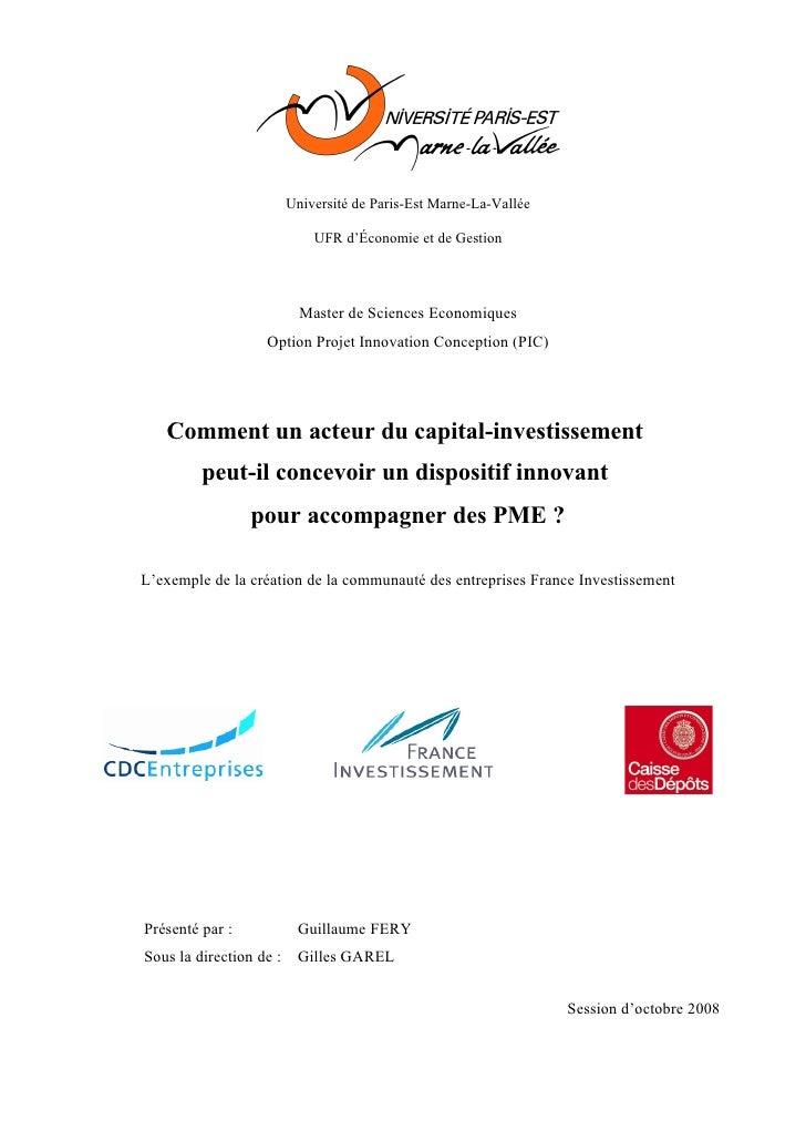 Université de Paris-Est Marne-La-Vallée                               UFR d'Économie et de Gestion                        ...