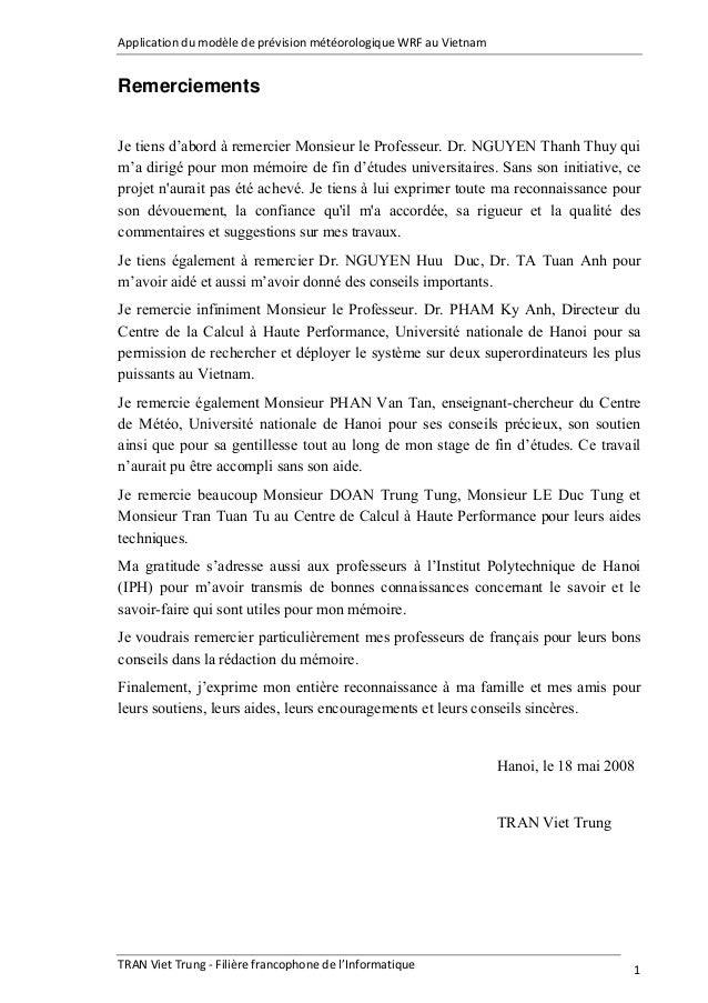 Application du modèle de prévision météorologique WRF au Vietnam