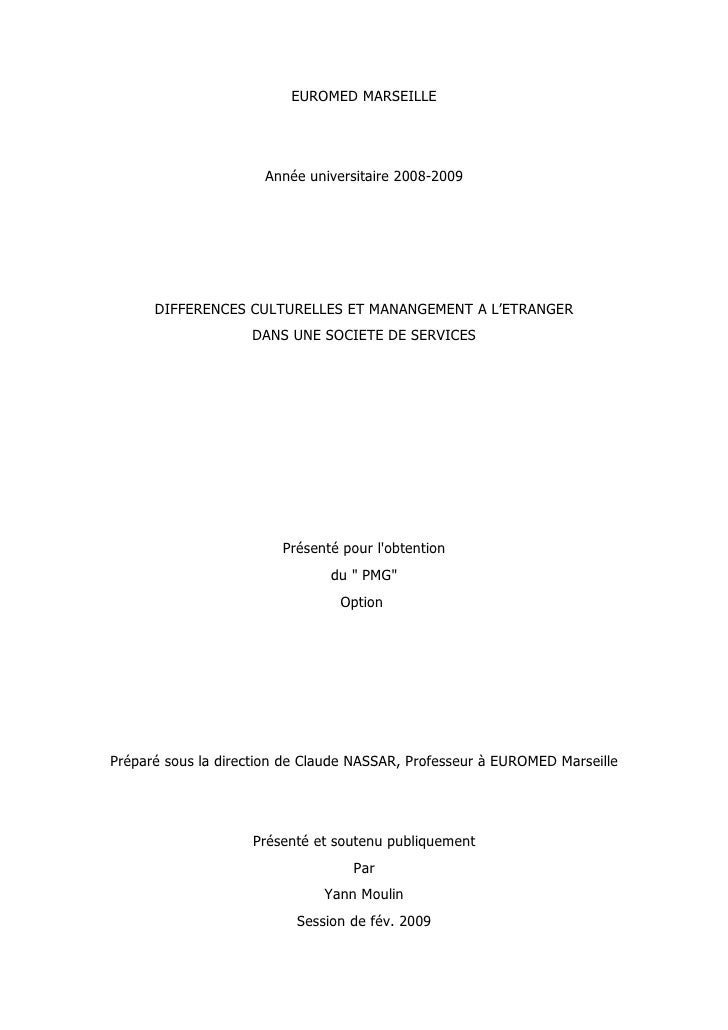 Différences culturelles et management à l'étranger dans une société de services.                                    EUROME...