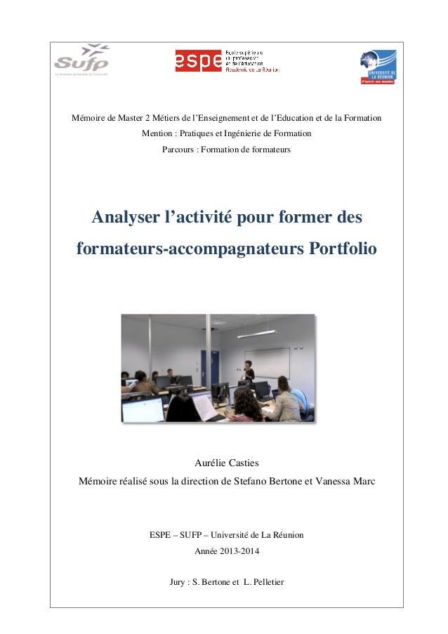 Mémoire de Master 2 Métiers de l'Enseignement et de l'Education et de la Formation Mention : Pratiques et Ingénierie de Fo...