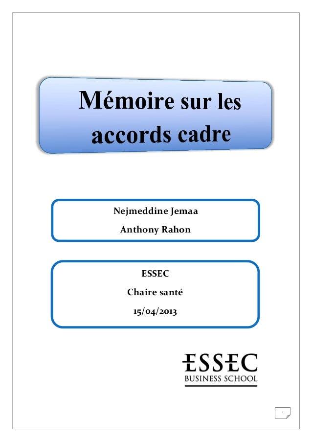 Nejmeddine Jemaa Anthony Rahon  ESSEC Chaire santé 15/04/2013  1