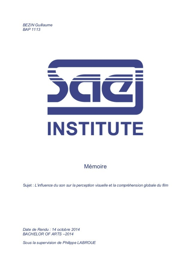 BEZIN Guillaume BAP 1113 Mémoire Sujet : L'influence du son sur la perception visuelle et la compréhension globale du film...