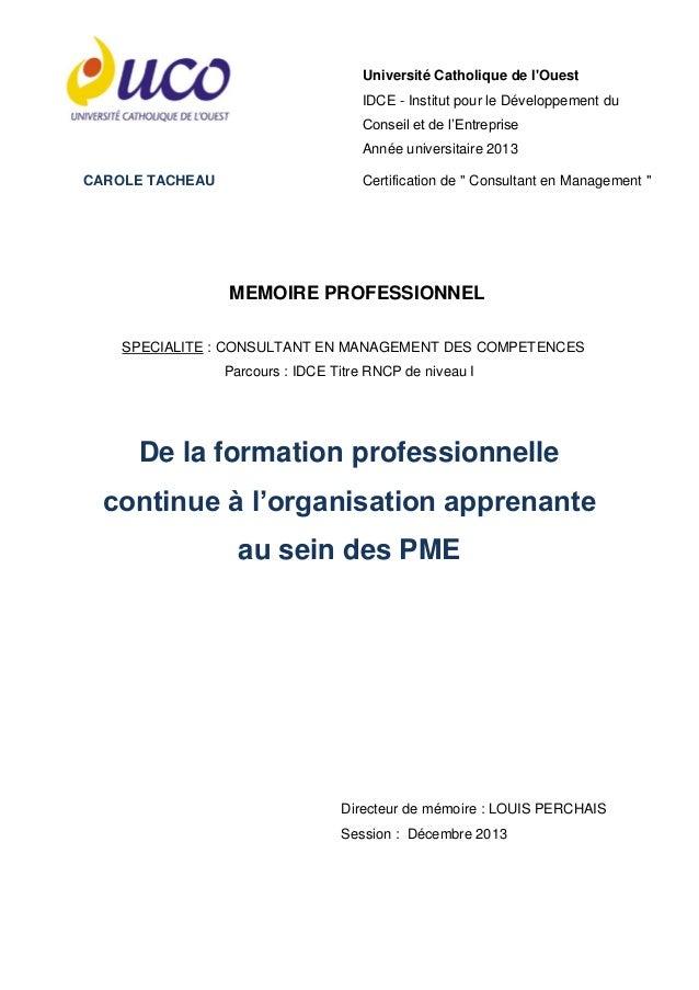 Mémoire de fin d'études sur la formation professionnelle continue dans les entreprises