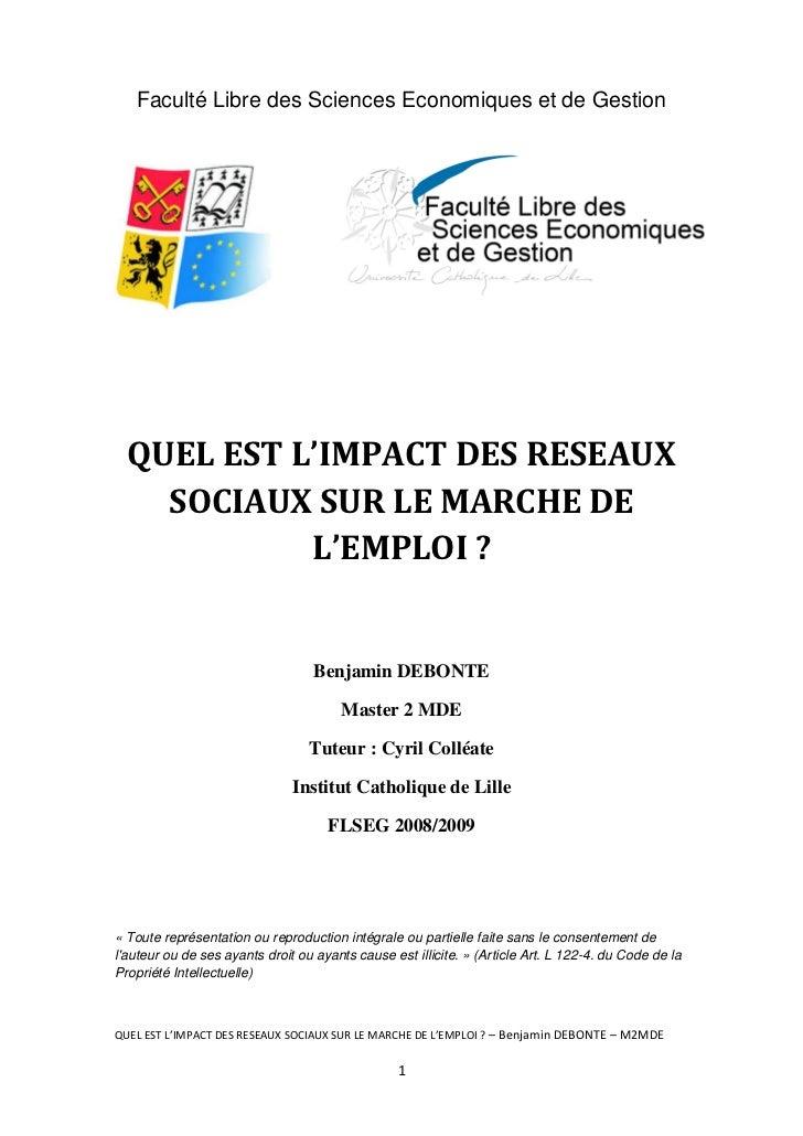 Quel est l'impact des réseaux sociaux sur le marché de l'emploi ? Memoire De Recherche Benjamin Debonte Master 2 Mde 2009