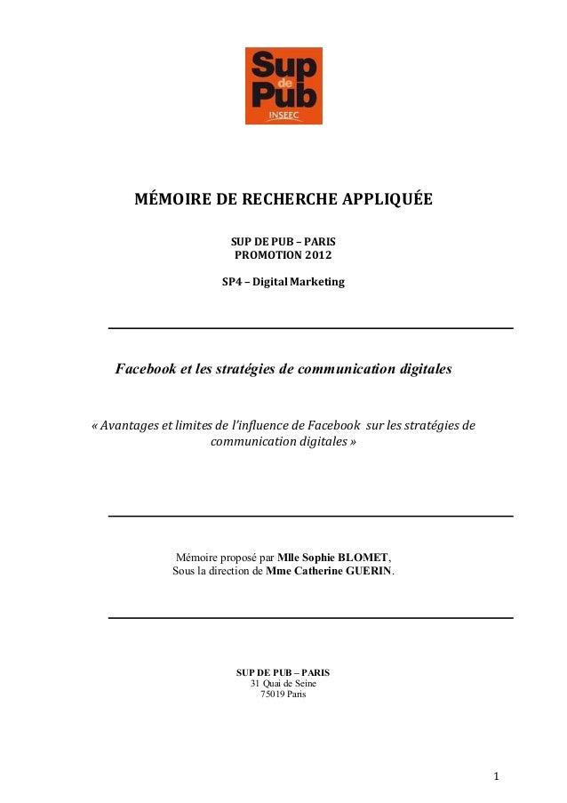 MÉMOIRE DE RECHERCHE APPLIQUÉE                                               SUP DE P...