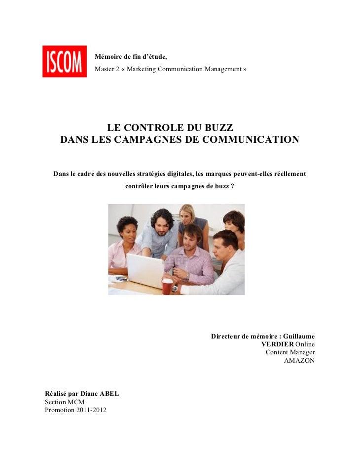 Memoire de fin d'études : Le contrôle du buzz dans les campagnes de communication