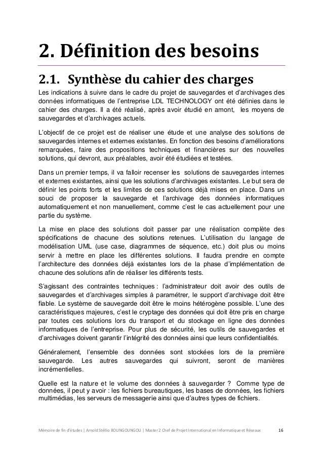 Memoire de fin d 39 tudes pour le diplome de chef de projet informatiqu - Definition de cahier de charge ...