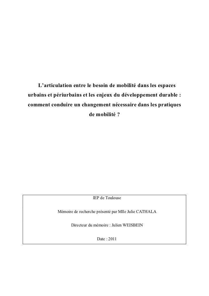 Mémoire Sciences Po Toulouse_Comment conduire un changement dans les pratiques de mobilité
