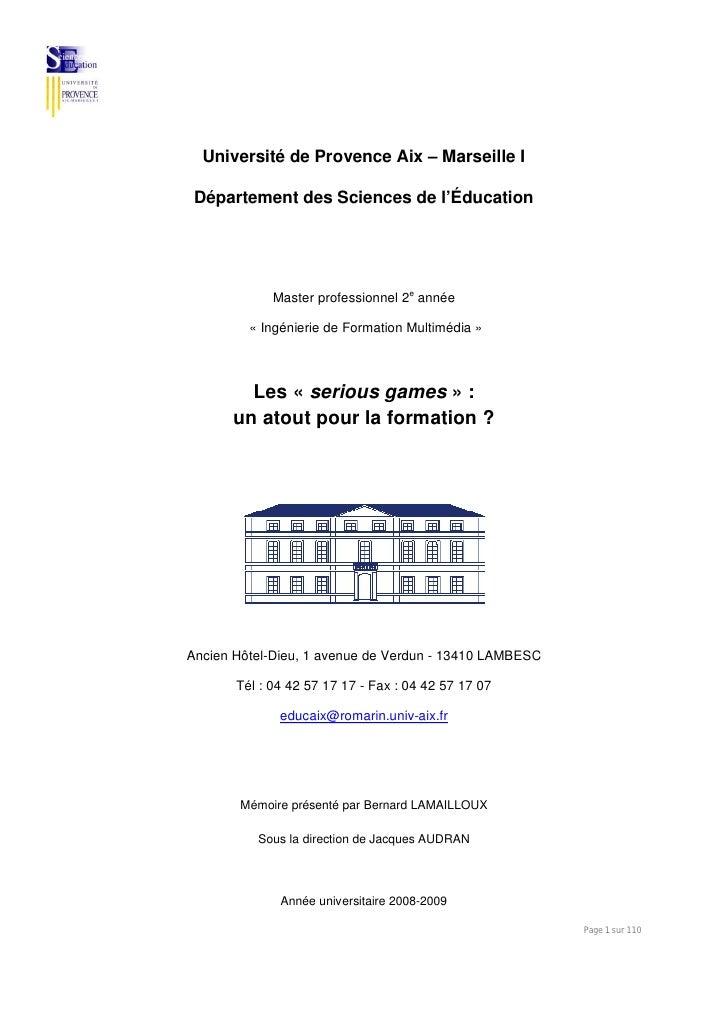 Université de Provence Aix – Marseille I   Département des Sciences de l'Éducation                  Master professionnel 2...