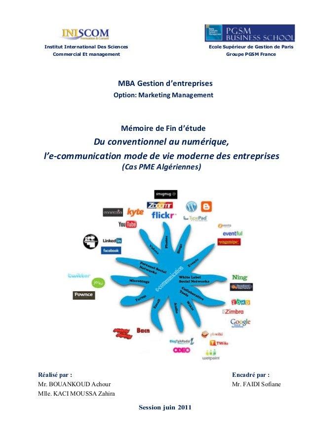 Institut International Des Sciences                       Ecole Supérieur de Gestion de Paris     Commercial Et management...