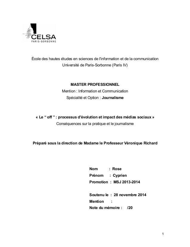 !  École des hautes études en sciences de l'information et de la communication  Université de Paris-Sorbonne (Paris IV)  M...