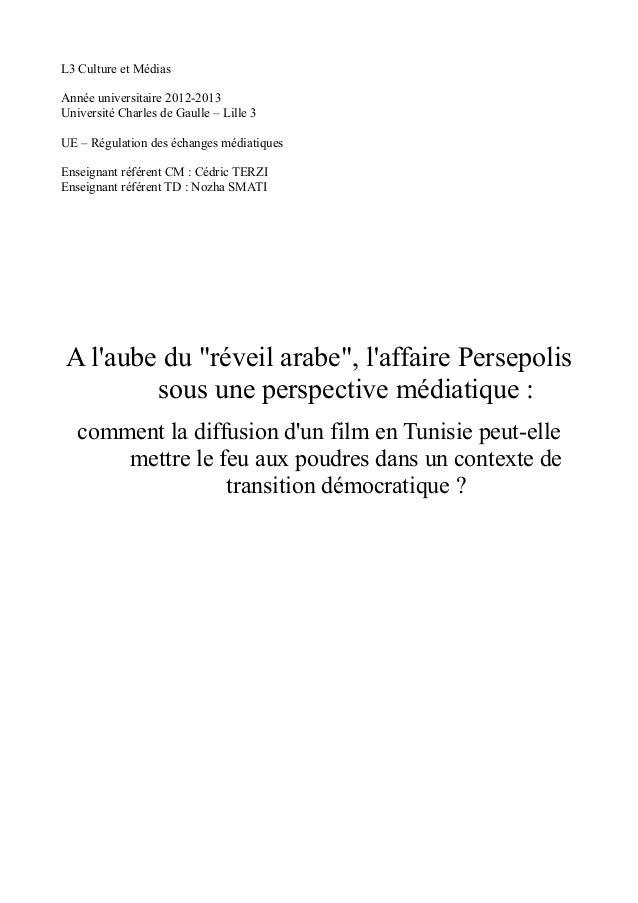 L3 Culture et Médias  Année universitaire 2012-2013  Université Charles de Gaulle – Lille 3  UE – Régulation des échanges ...
