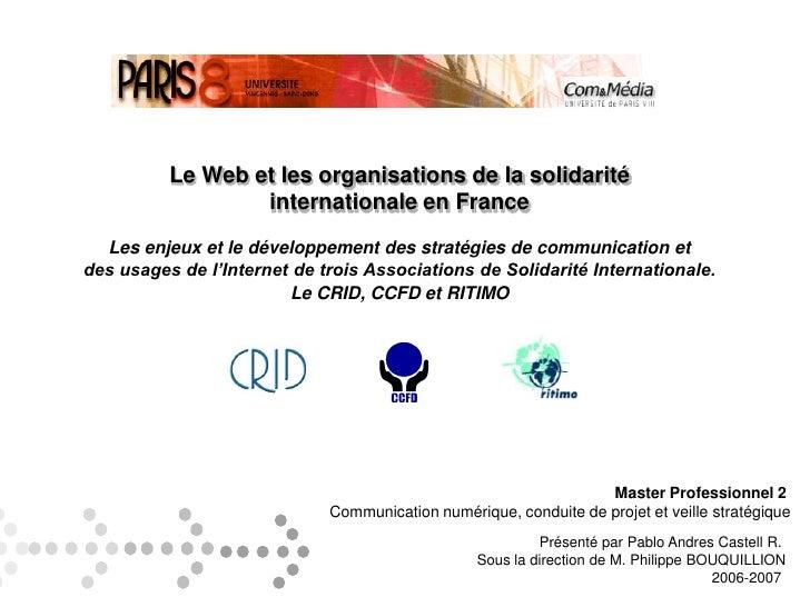 Le Web et les organisations de la solidarité <br />internationale en France<br />Les enjeux et le développement des straté...