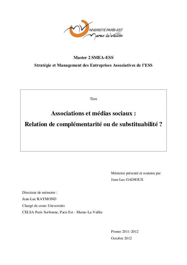 Mémoire Master II - Associations et médias sociaux : Relation de complémentarité ou de substituabilité ?