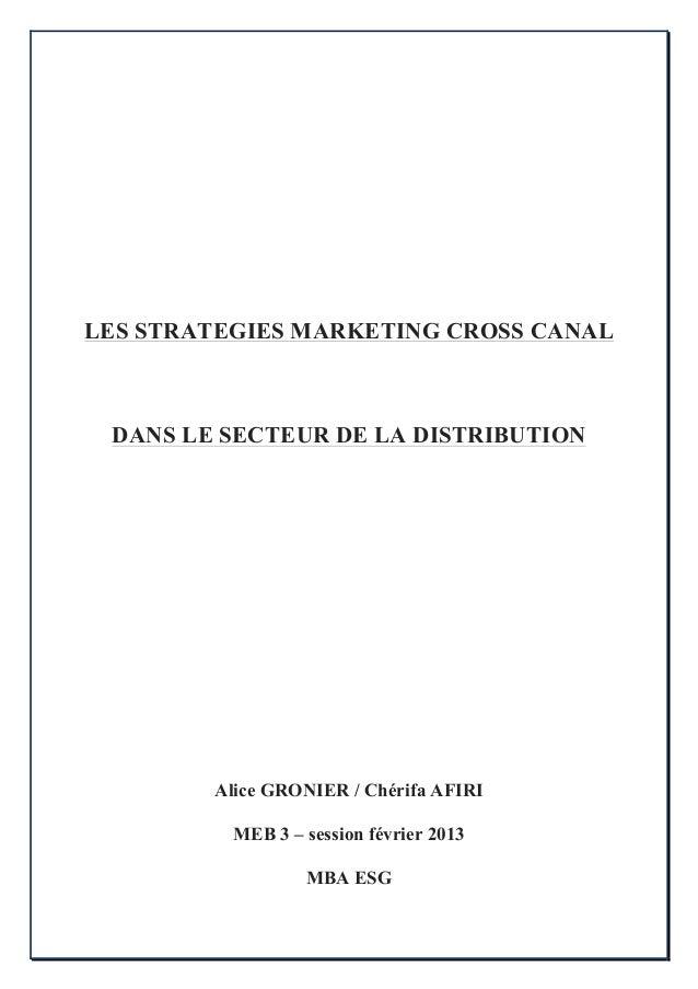 Les stratégies marketing cross canal dans le secteur de la  Distribution