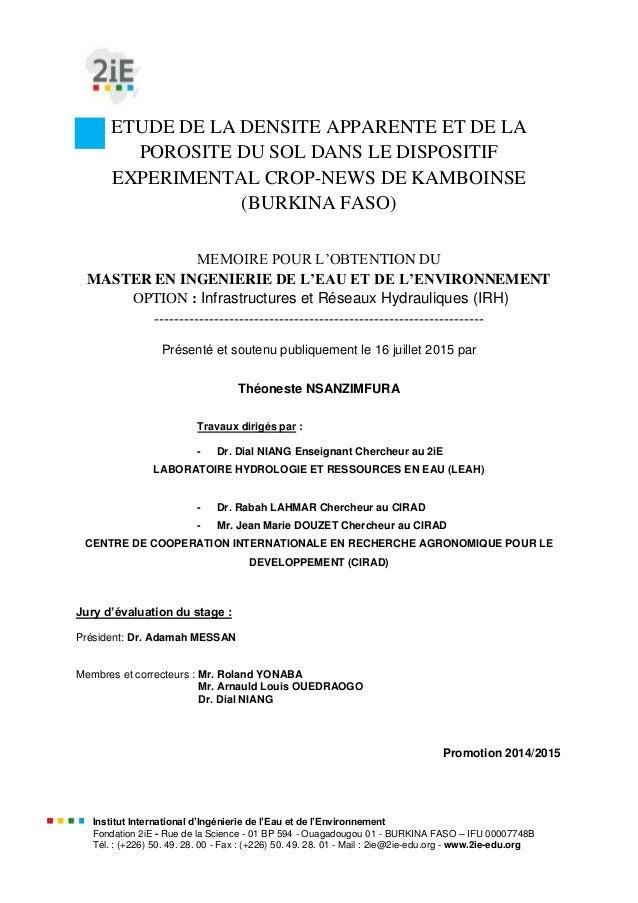 Institut International d'Ingénierie de l'Eau et de l'Environnement Fondation 2iE - Rue de la Science - 01 BP 594 - Ouagado...
