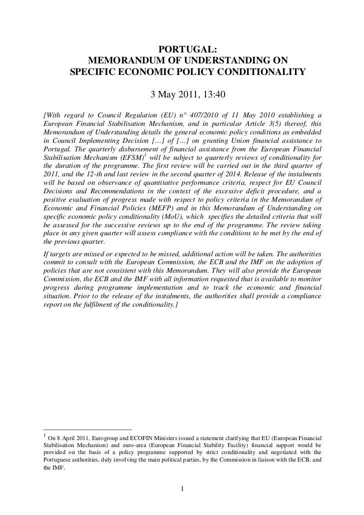 PORTUGAL:             MEMORANDUM OF UNDERSTANDING ON          SPECIFIC ECONOMIC POLICY CONDITIONALITY                     ...