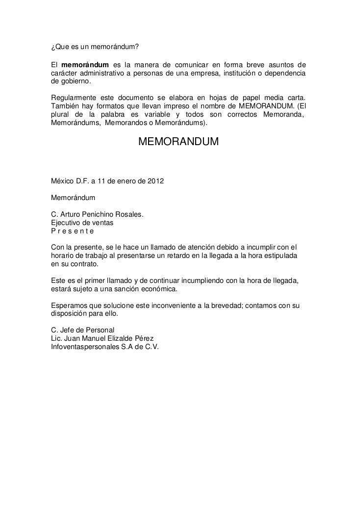 formato memorandum: