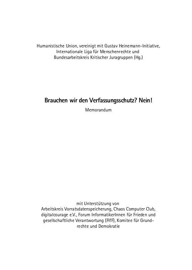 Humanistische Union, vereinigt mit Gustav Heinemann-Initiative, Internationale Liga für Menschenrechte und Bundesarbeitskr...