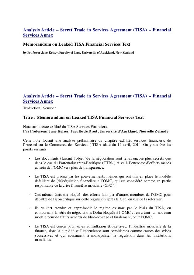 Analysis Article – Secret Trade in Services Agreement (TISA) – Financial Services Annex Memorandum on Leaked TISA Financia...
