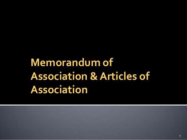 Memorandum and articles