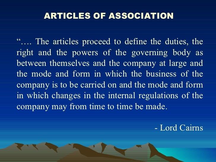 memorandum of association and articles of