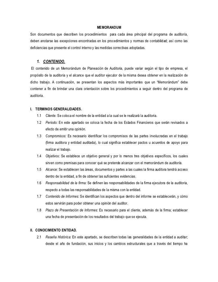 MEMORANDUMSon documentos que describen los procedimientos para cada área principal del programa de auditoría,deben anotars...