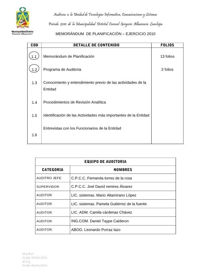 Auditoria a la Unidad de Tecnologías Informática, Comunicaciones y Sistemas                     Periodo 2010 de la Municip...