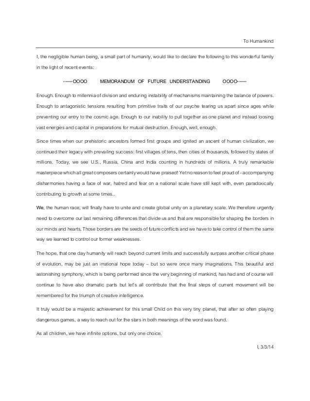 Memorandum of future understanding