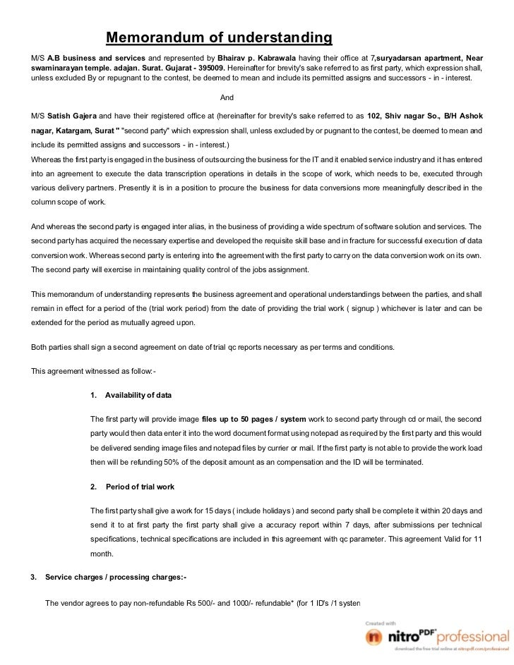 Memorandum of understandingM/S A.B business and services and represented by Bhairav p. Kabrawala having their office at 7,...