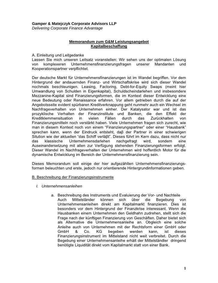Gamper & Matejczyk Corporate Advisors LLP Delivering Corporate Finance Advantage                        Memorandum zum G&M...