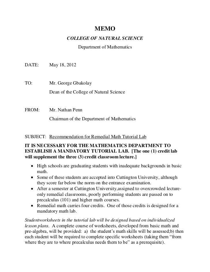 Memo Remedial Math Lab Proposal