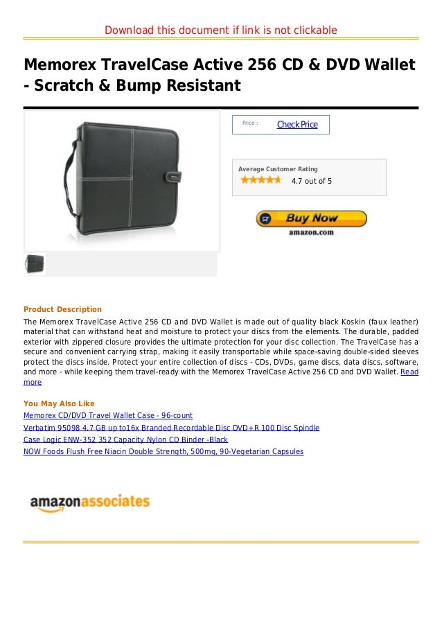 Download this document if link is not clickableMemorex TravelCase Active 256 CD & DVD Wallet- Scratch & Bump Resistant    ...