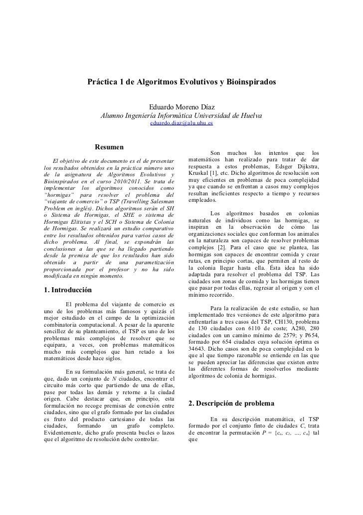 Práctica 1 de Algoritmos Evolutivos y Bioinspirados                                     Eduardo Moreno Díaz               ...