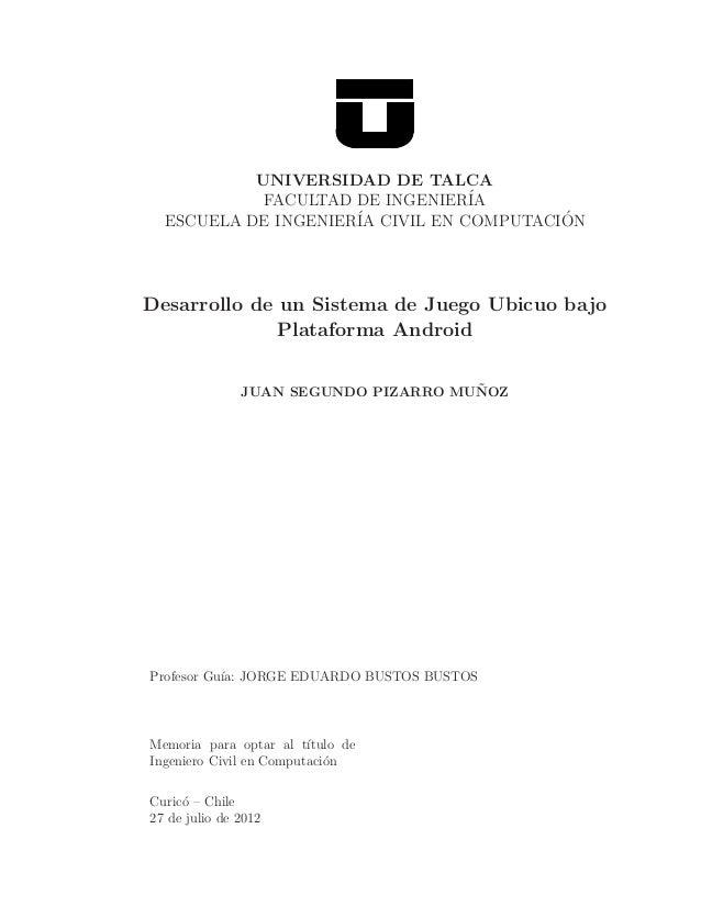Desarrollo de un Sistema de Juego Ubicuo bajo Plataforma Android