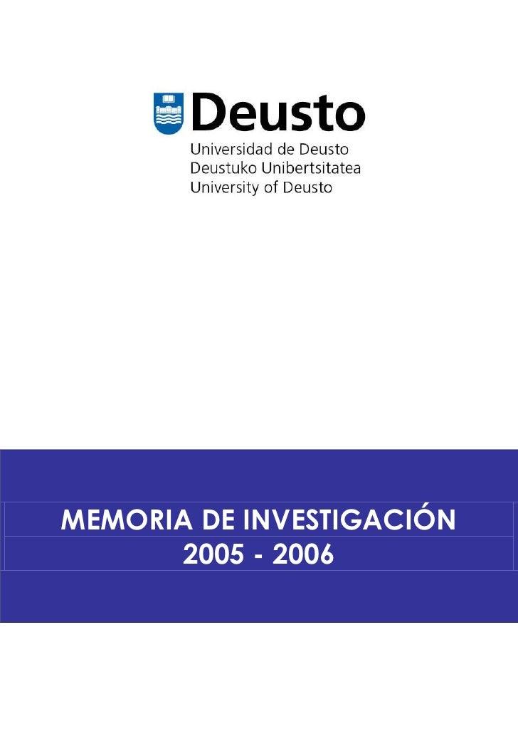 Memoria de Investigación 2005 - 2006