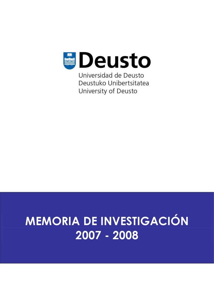 Memoria de Investigación 2007 - 2008
