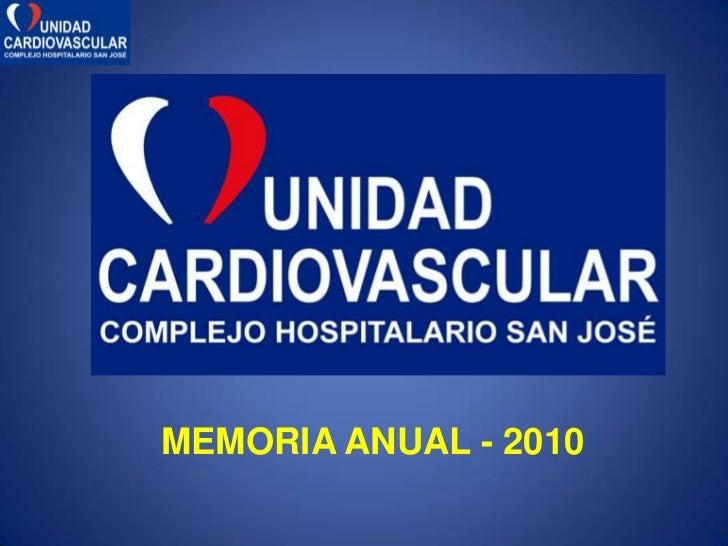 Memoria 2010 unidad cardiovascular