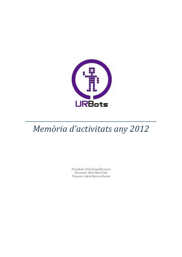 Memoria URBots 2012