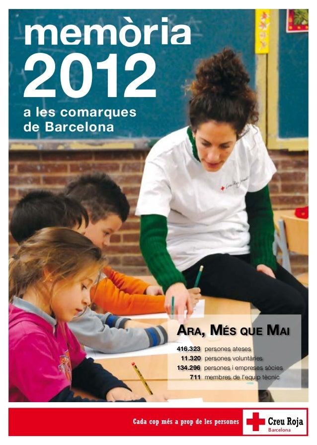 memòria 2012 Ara, Més que Mai 416.323 persones ateses  11.320 persones voluntàries 134.296 persones i empreses sòcies ...
