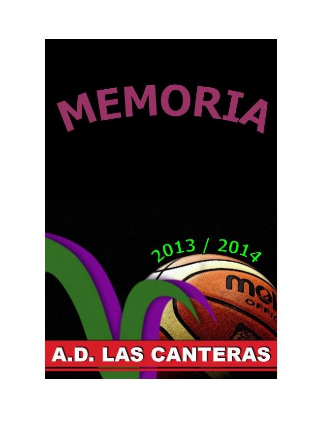 Memoria 2013 AD LAS CANTERAS