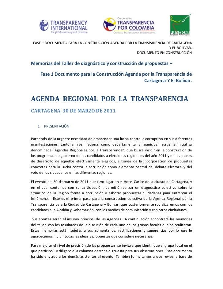 FASE 1 DOCUMENTO PARA LA CONSTRUCCIÓN AGENDA POR LA TRANSPARENCIA DE CARTAGENA                                            ...