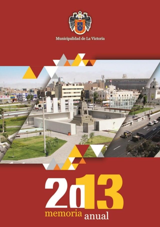 Memoria anual Municipalidad Distrital de La Victoria 2013 Alberto Sanchez Aizcorbe