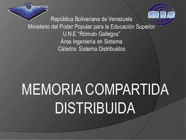 """República Bolivariana de VenezuelaMinisterio del Poder Popular para la Educación Superior                U.N.E """"Rómulo Gal..."""